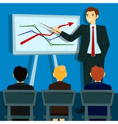 Business Presentation Businessman Shows Statistics vector image
