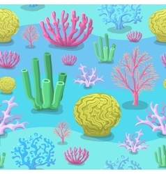 Underwater seamless pattern of sea corals vector