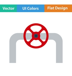 Flat design icon of pipe with valve vector