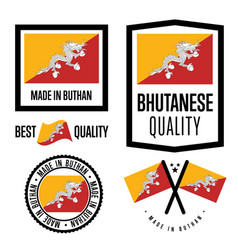 Bhutan quality label set for goods vector