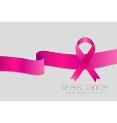 Breast cancer awareness month Pink ribbon design vector image