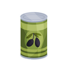 Canned olives tinned food in aluminum can cartoon vector
