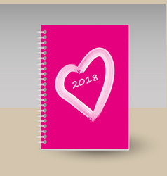 Cover of diary or notebook pink heart vector
