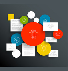 Dark abstract circles and squares infographic vector