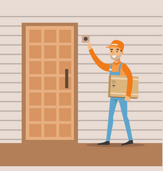 delivery service worker ringing the appartment vector image