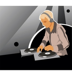 DJ with sound equipment vector image