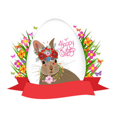 Easter egg and rabbit poster with label vector