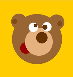 Fun cartoon bear head vector image vector image