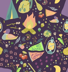 Happy summer camp seamless pattern vector