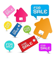 House For Sale Paper Icons Set vector image