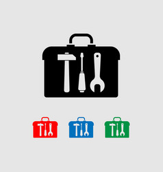 icon set with tools hammer screwdriver wrench vector image