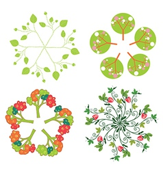 Leaves trees flowers symbols in circle vector image vector image