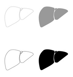 Liver the black and grey color set icon vector