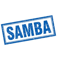 Samba blue square grunge stamp on white vector