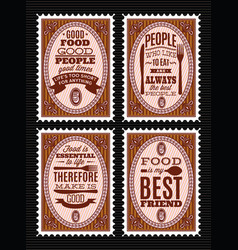 Set of postage stamps with citations on vector