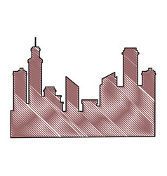 Silhouette of urban city icon vector