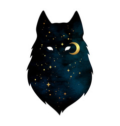 Silhouette of wolf with crescent moon and stars vector