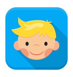 Smiling boy face app icon with long shadow vector