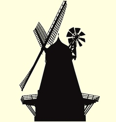smock windmill silhouette vector image