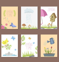 spring natural floral cards with blossom gardening vector image