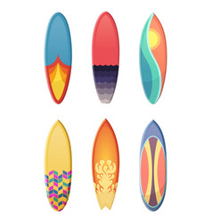 Surfboards set of different retro colors vector