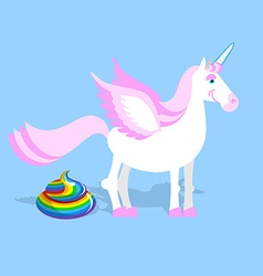 Unicorn pooping color turd Fantastic animal in sky vector image