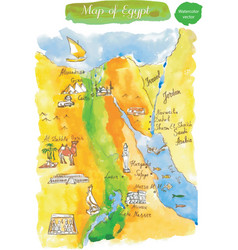 Watercolor map of attractions egypt vector