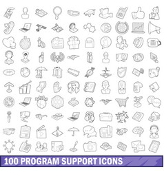 100 program support icons set outline style vector