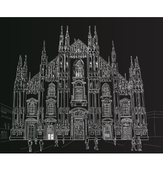 Sketch milan cathedral vector