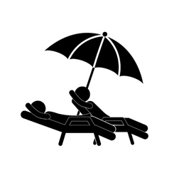 Silhouette people in beach chair with umbrella vector