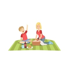 Mother and child having picnic lunch together vector