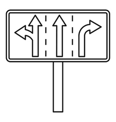 Traffic lanes at crossroads junction icon vector