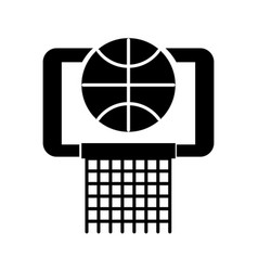 Black icon basket ball in the hoop cartoon vector