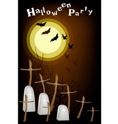 Evil bats flying over the cemetery background vector