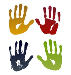 Old woman four hand prints vector