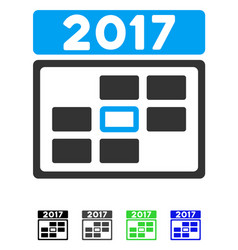 2017 calendar week day flat icon vector