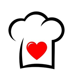 Sign with chef hat and heart vector