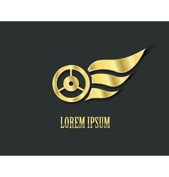 Golden wings with wheel for your logo design vector