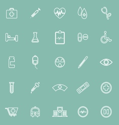 Medical line icons on green background vector