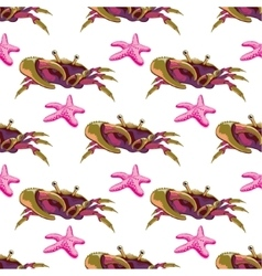 Seamless pattern with crabs and starfish vector