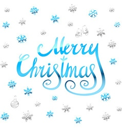 Merry christmas - blue glittering lettering design vector