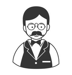 Waiter male mustache glasses icon vector