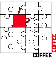 Puzzle with a cup of coffee vector