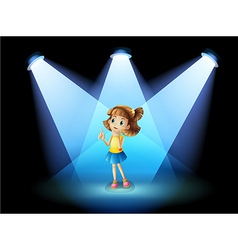 A girl standing in the spotlight vector image vector image