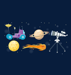 astronomy space cartoon set vector image