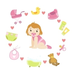 Baby girl surrounded with object it needs vector
