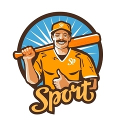baseball player logo championship vector image