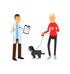blonde woman at the veterinary doctor with her pet vector image