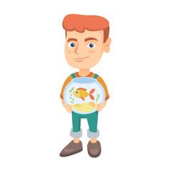 caucasian boy holding aquarium with goldfish vector image