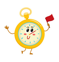 funny stopwatch timer timekeeping character with vector image